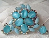 Vintage Demi Parure Brooch & Earring Set- Teal Blue and Rhinestones