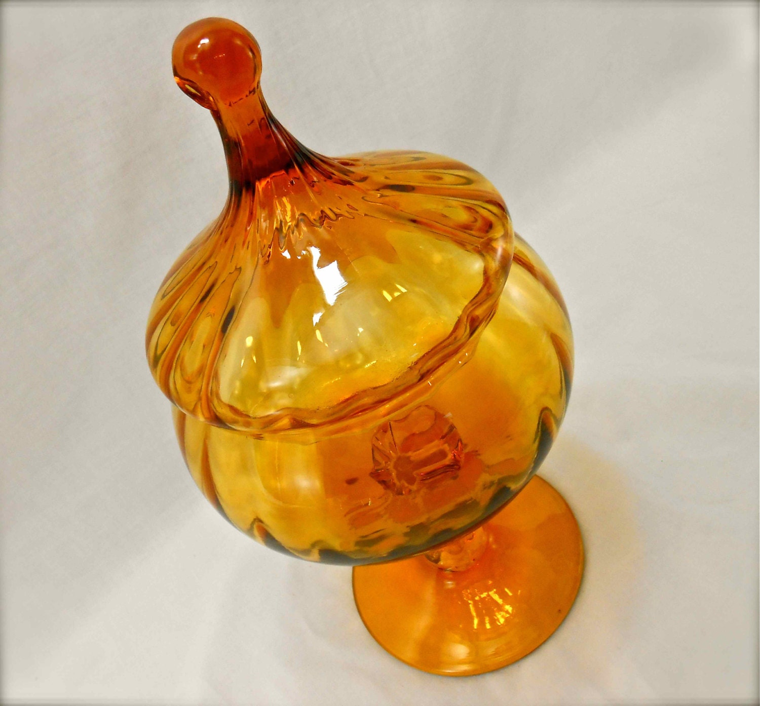 Vintage Amber Glass Italian Candy Dish Covered Pedestal