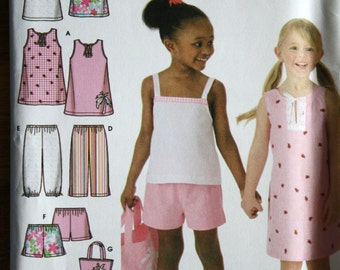 Simplicity 4160 Girls Dress Top Halter Top Cropped Pants Shorts Tote Bag Sewing Pattern