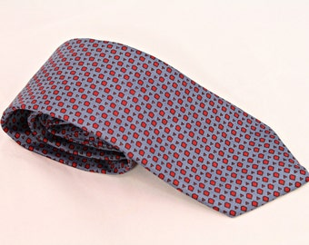 Vintage Silk Neck Tie Mens Blue Red Squares Triangles 4th of July Patriotic Tie Calvin Klein Brand