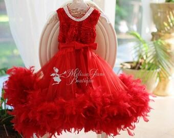 Christmas Surprise Dress - Girls Feather Dress, Princess Dress, Pageant Dress, Red Dress