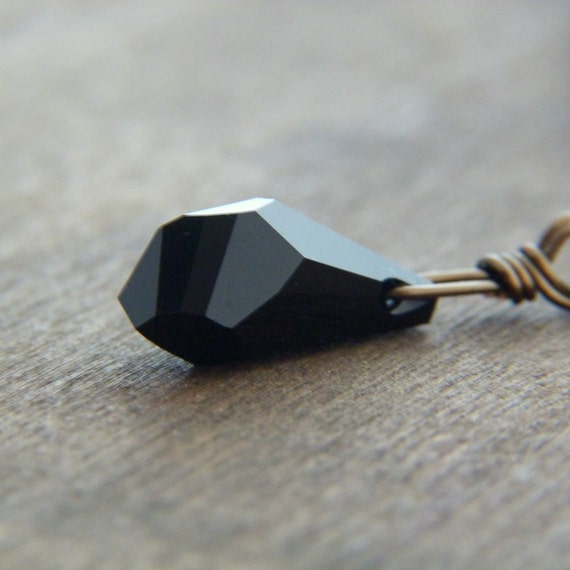 Jet Black Swarovski Crystal Polygon Briolette Pendant Necklace