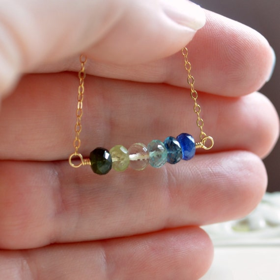 Blue and Green Gemstone Necklace, Tourmaline, Apatite, London Topaz, Kyanite, Ocean, Sterling Silver or Gold Jewelry, Free Shipping
