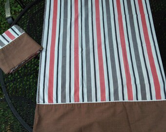 Vintage Set of Two Brown Pink and Gray Stripe Pillowcases
