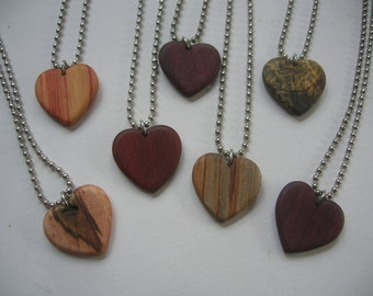 Wooden heart pendant - special woods collection