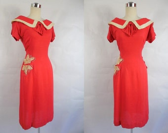 1950's Vintage Coral Pink Raw Silk Toni Todd Dress