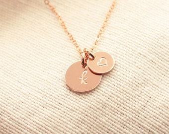 Rose Gold Initial Necklace, Big & Little Disc Necklace, Dainty Initial Charms, Personalized Necklace, Mother's Necklace, Dainty Necklace