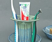 Toothbrush Holder 6 Slots in Cobalt Blue and Green Glaze