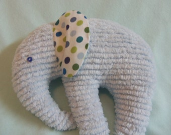 Stuffed Chenille Elephant, Blue, ears are White with Dark blue Light Blue and Olive Green dots