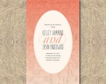 Peach Ombre Ruffle Wedding Program - Printable