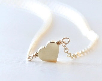 Tiny Gold Heart Necklace - On 14K Gold filled chain- Everyday simple dainty gold shiny jewelry