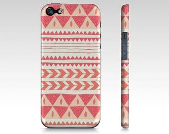 PHONECASE iPhone 5/5s Case Protective Phone Case Geometric Phone Case Tribal Design Pink - Tribal Geometric Design