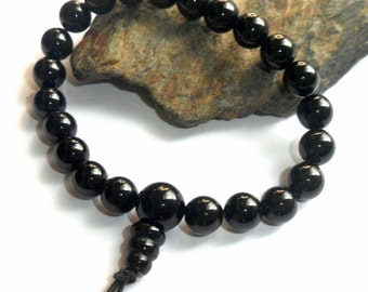 Black Obsidian Mala Power Bracelet Wrist Gemstone Adjustable earthegy