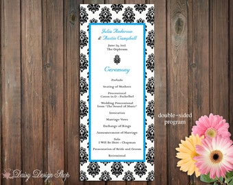 Wedding Program - Damask Flourishes in a Long and Skinny Double Sided Design