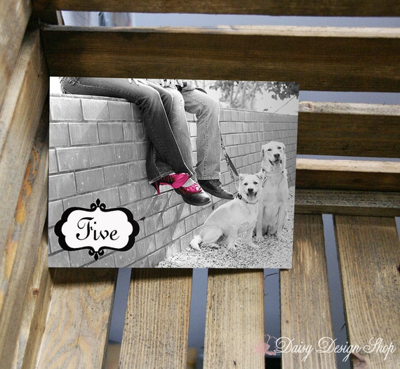 Table Number Card - Black and White Photo Card with a Splash of Color - 5x7 or 4x6 Card