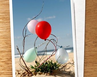 "CARD ""Happy Birthday Balloons"" Original 6 x 4 Photo on Nice Thick Card Stock. Balloons, Pastel, Blue, Red, Pink, Mint, Balloons on Beach"