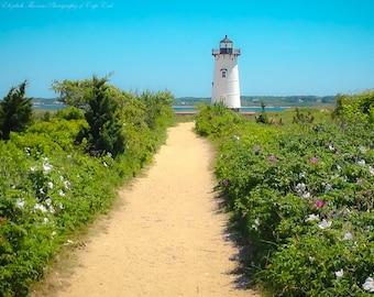 EDGARTOWN LIGHTHOUSE on Martha's Vineyard, Cape Cod Massachusetts, Ocean Atlantic, Beach Living, Coastal