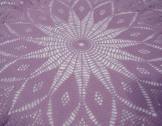 Lavender sunburst hand crocheted lace tablecloth with roses and fine picot edging-READY TO SHIP