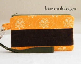 Wristlet with Corduroy Patchwork design.