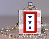 Three-Star Military Service Flag Necklace - (Red, White, Blue) - Scrabble Tile Pendant with Chain