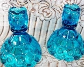 Blue MOON & STAR Candle Holders, Gorgeous Vintage LE Smith Pieces, Complete Your Set