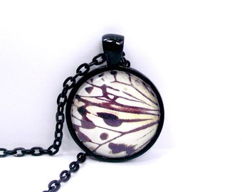 SALE. Butterfly wing pendant. Delicate feminine . Black shiny  frame and chain. For butterfly lovers
