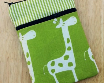 personalized SLEEVE cover for ipad / ipad mini / kindle / nook / samsung  - giraffe in green