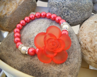 Burnt Orange Glass Pearl and Rose Button Beaded Stretch Bracelet