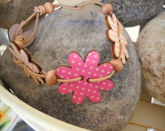 Polka Dot Wood Daisy Buttons and Leather Woven Bracelet