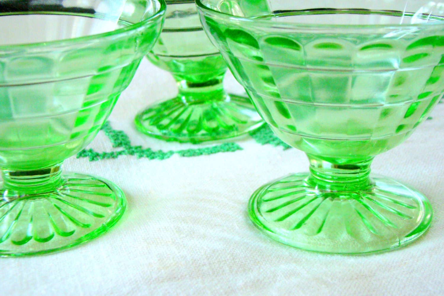 Vintage Block Optic Pattern Green Depression Glass Sherbet