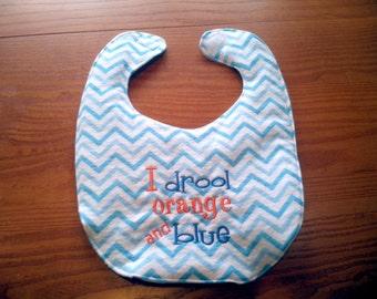Auburn University I Drool Orange and Blue Embroidery Handmade Baby Bib on Blue Chevron