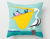 "The Greedy Pelican - Children's Throw Pillow / Cushion Cover (16"" x 16"") iOTA iLLUSTRATION"