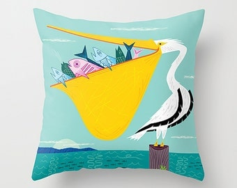 "The Greedy Pelican - Children's Throw Pillow / Cushion Cover (16"" x 16"") - iOTA iLLUSTRATION"