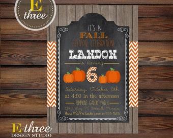 Printable Fall Festival Birthday Party Invitation - Kid's Fall Birthday Chalkboard and Pumpkins Invitation - Orange Chevron