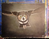 Owl Painting- Nocturnal Dreams- 16 x 20, acrylic on canvas, ready to hang, ORIGINAL by Michael H. Prosper