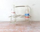 Vintage Metal Glass Carrier with Old Bottles