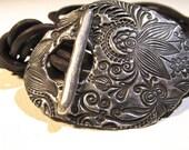 Silver  Bracelet, Boho Bracelet, Botanical leather Wrap Bracelet, Stackable Bracelet, Silver and Leather bracelet,