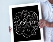 Amazing Grace How Sweet the Sound print in black and white