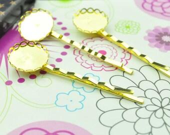 Hair pin hair clips 20pcs Gold bobby pins Round pad Cabochon base setting 55 mm