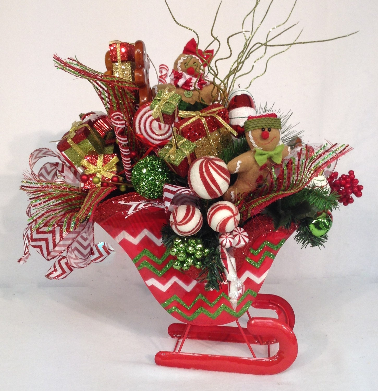 Gingerbread Sweet Treat Sleigh Centerpiece By