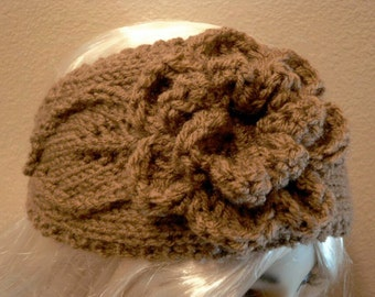 Hand Knit soft Acrylic Large Flower and Leaf Cafe Mocha Taupe Button Back Headband - Headwrap