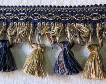 tassel fringe- navy tan gold