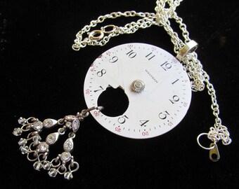 Urban Debris Steampunk Vintage Porcelain Watch Face Necklace Mixed Media Pendant Z 21