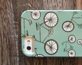 iPhone case- retro bicycle- cyclist lovers case- bike case- iPhone retro green teal case- redtilestudio