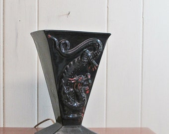 TV Lamp Table Lamp Black and Red Dragon Accent Lamp