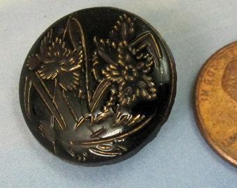 Antique Button Glass Button Victorian Button Vintage Black Iris Button  320 vsb *