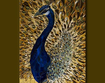 Peacock Modern Animal Art Painting Textured Palette Knife Original Oil on Canvas 20X30 by Willson Lau