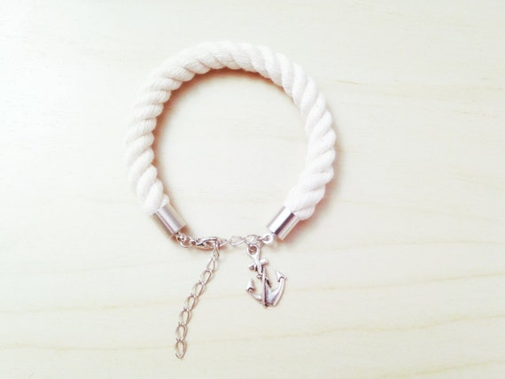 Silver SAILORETTE Nautical Rope Bracelet with Metal Anchor Charm - Beach Wedding Gift - Bridesmaid Gift - Anniversary Gift