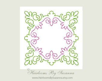 Redwork Machine Embroidery Design - Square Antique Motif - Colorwork - Machine Quilt Embroidery - 3 Sizes - Square Motif No.3