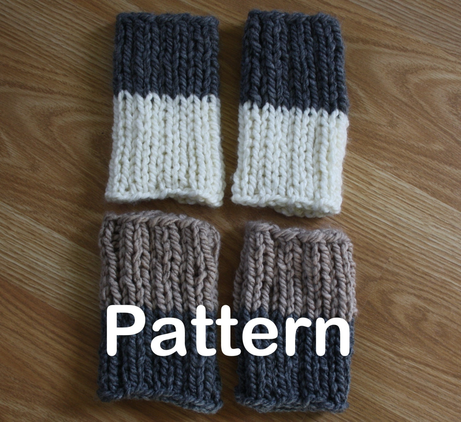 Knit Boot Socks Pattern : PDF PATTERN Chunky Reversible Knit Boot Sock Cuffs by TrulySimple